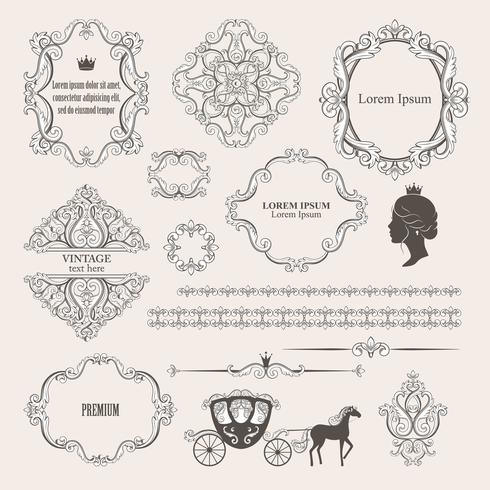 Mega set collections of vintage design elements. vector