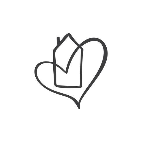 Eenvoudig kalligrafiehuis met hart. Echte vector pictogram. Consept comfort en bescherming. Architectuurbouw voor ontwerp. Art huis vintage hand getrokken Logo-element