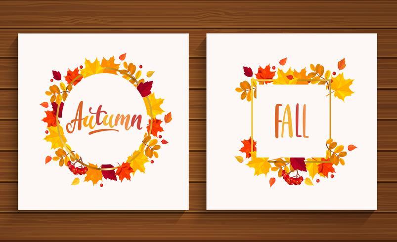 Cartes d'automne et d'automne.