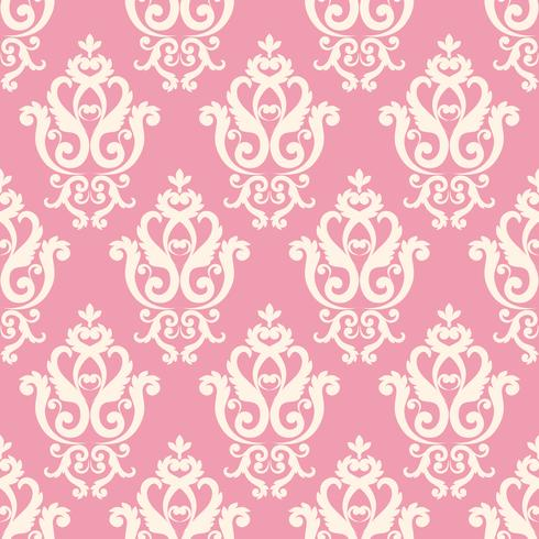 Seamless damask pattern. Pink texture in vintage rich royal style