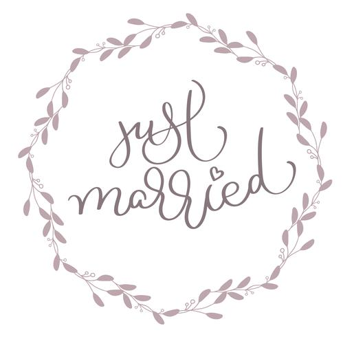 Testo appena sposato in foglie cornice rotonda. Illustrazione disegnata a mano EPS10 di vettore dell'iscrizione di calligrafia