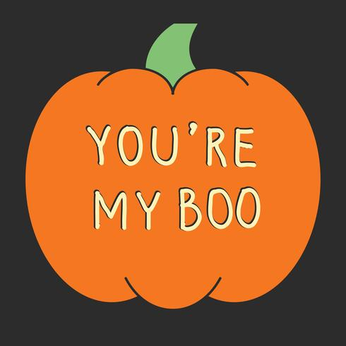 Halloween card with carved pumpkins. Vector illustration