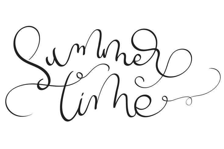 Texto del horario de verano en el fondo blanco. Dibujado a mano caligrafía Letras ilustración vectorial EPS10