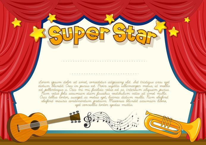 Certifikat med musikinstrument på scenen