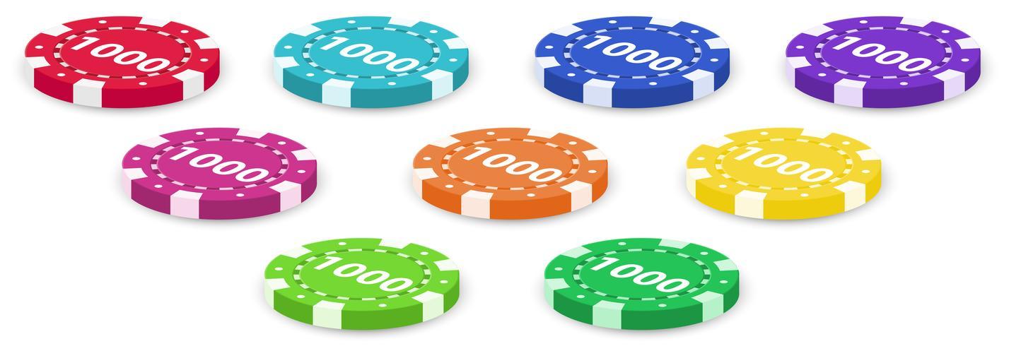 Neun Pokerchips