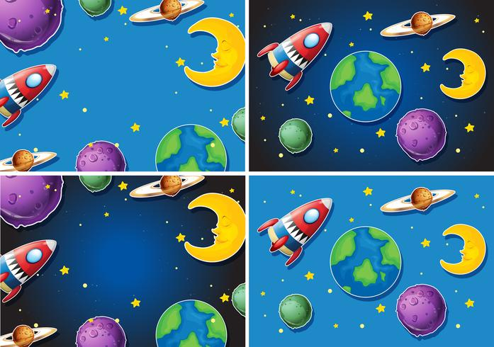 Scenes with rocket and planets