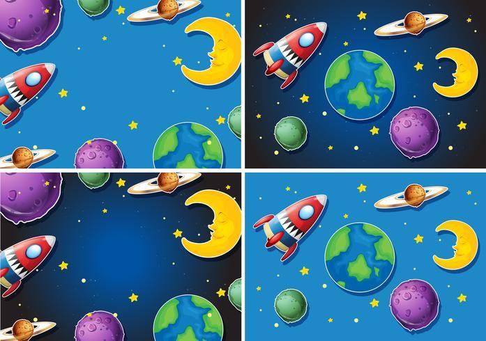 Escenas con cohetes y planetas.
