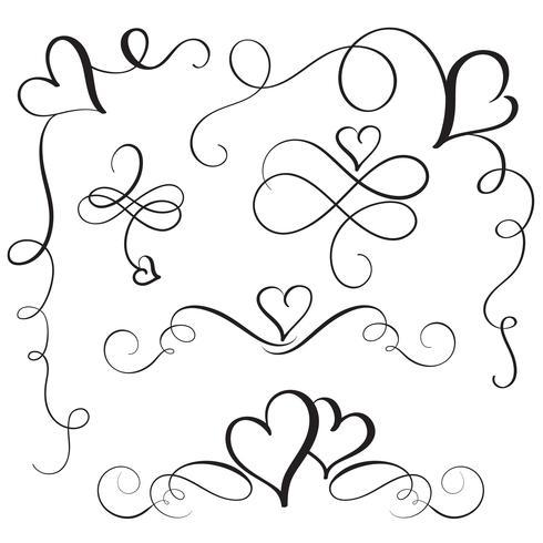 conjunto de florescer corações vintage de caligrafia. Mão de ilustração vetorial desenhada 10 EPS