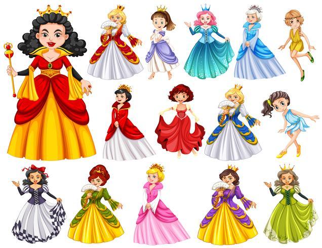 Conjunto de hermosas reinas y princesas. vector