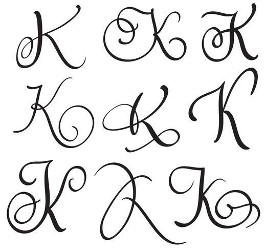 conjunto de arte caligrafia letra k com florescer de whorls decorativos vintage. Ilustração vetorial EPS10
