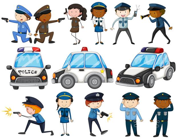 Sats av poliser och bilar