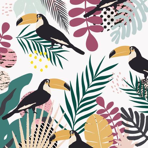 Tropische jungle bladeren en bloemen poster achtergrond met toekans vector