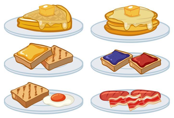 Menu de café da manhã nas placas