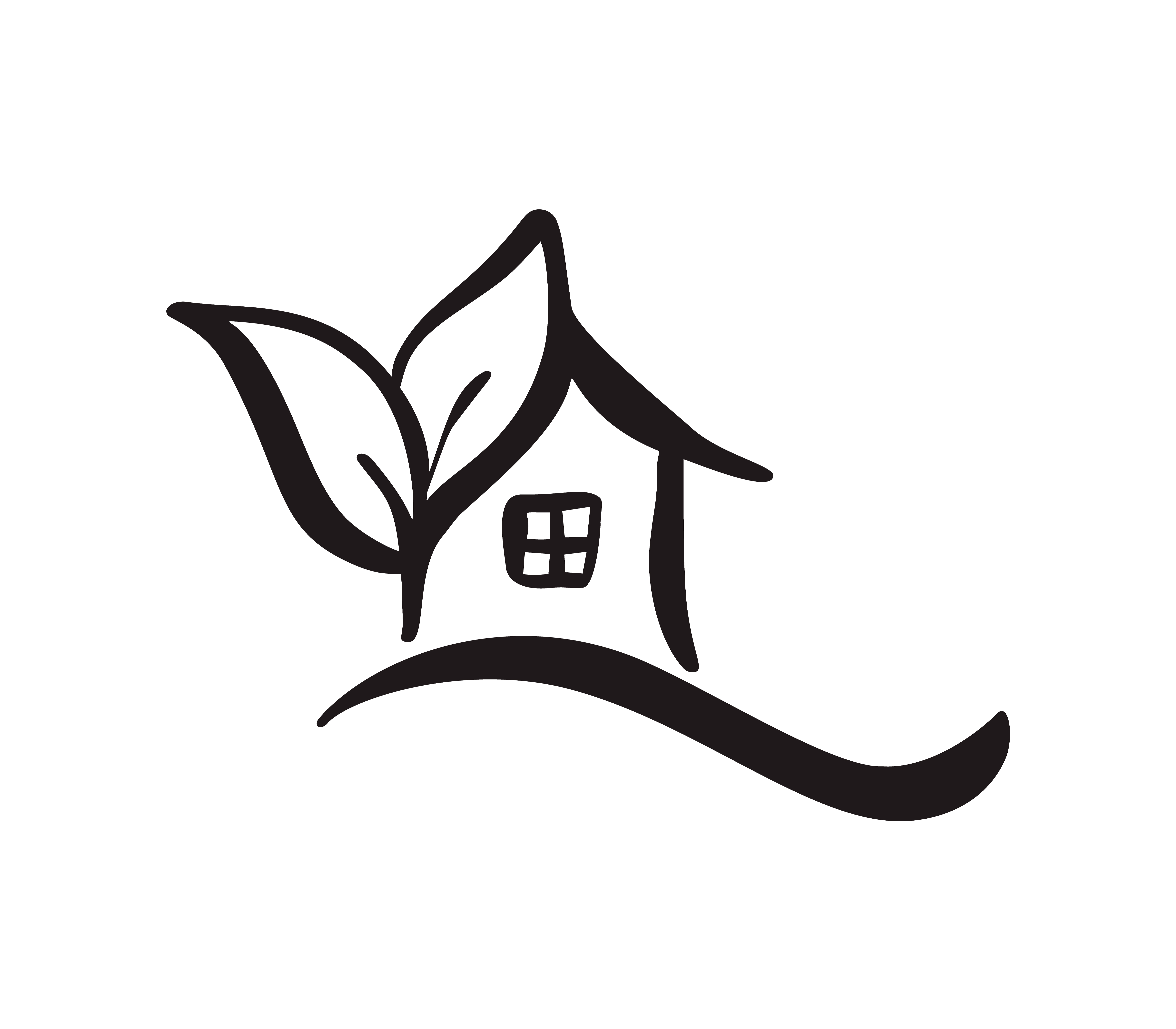 Eco House leaf. Simple Calligraphy nature Vector bio Icon ...