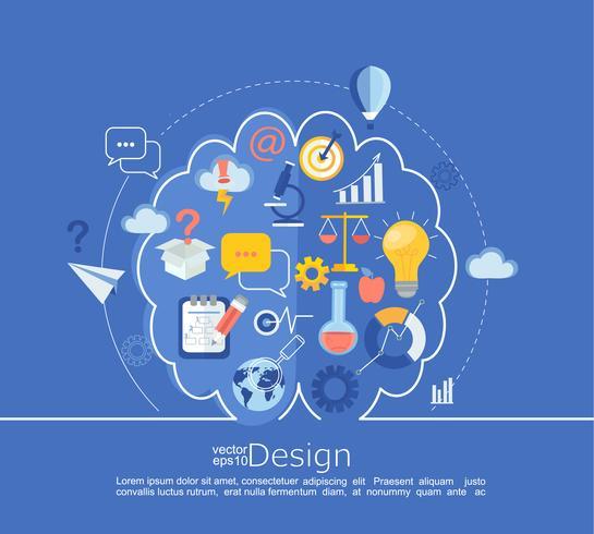 Infográfico de idéia criativa de cérebro esquerdo e direito. vetor