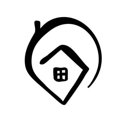 Simple Calligraphy House Real Vector Icon. Estate Architecture Construction for design. Home vintage hand drawn Logo element