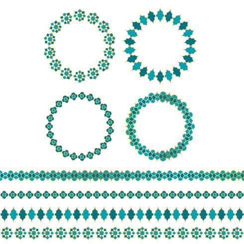 Azul oro marcos de círculo marroquí y patrones de borde