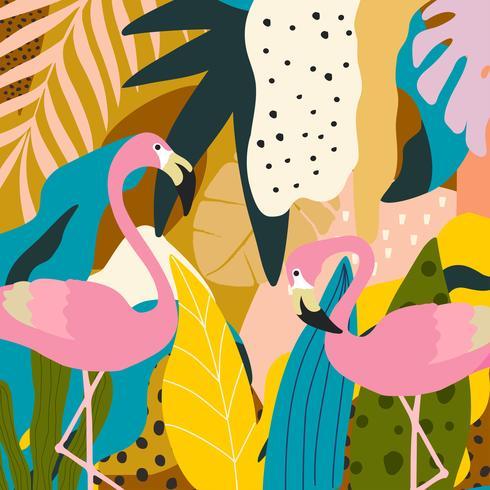 Fondo de cartel de hojas y flores de selva tropical con flamencos
