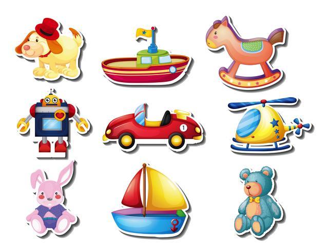 Klistermärke uppsättning av många söta leksaker