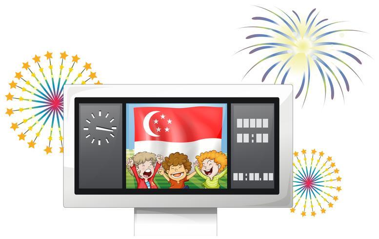 En resultattavla med den singaporeanska flaggan och de tre barnen