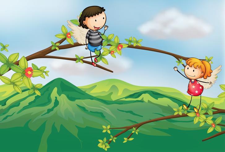 En tjej och en pojke vid en gren av ett träd