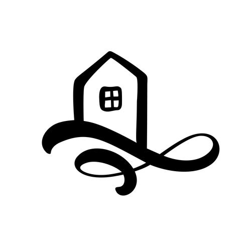Enkel Kalligrafi Hus Verklig Vektor Ikon. Estate Architecture Byggande för design. Konst hem vintage handgjorda Logo element