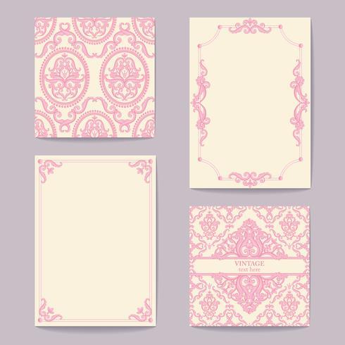 Impostare le collezioni di carte elementi di design vintage. Modelli, cornici vettore