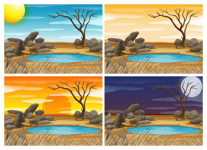 Waterhole Sceen à quatre moments différents