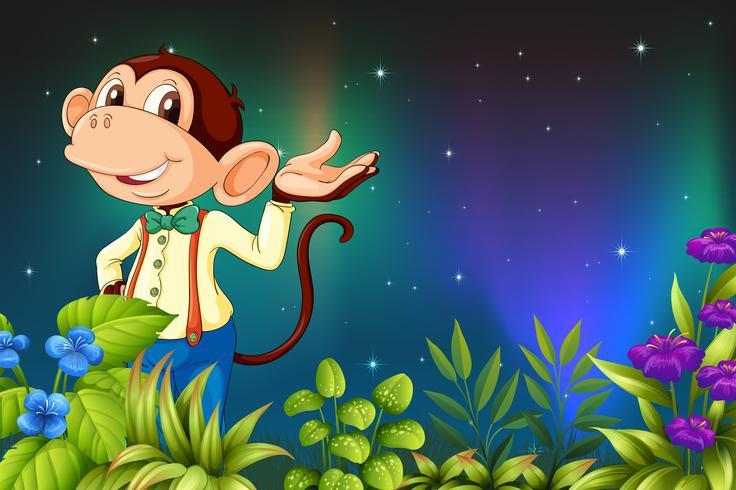 Una vista de madrugada con un mono macho