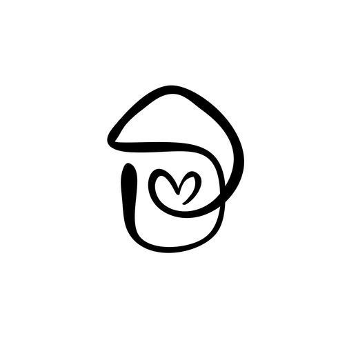 Calligraphie simple maison avec coeur. Icône de vecteur réel. Confort et protection appropriés. Architecture Construction pour la conception. Élément de logo dessiné main art maison vintage