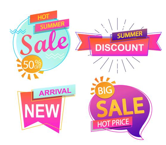 Set of 4 banner elements, sale and discount.