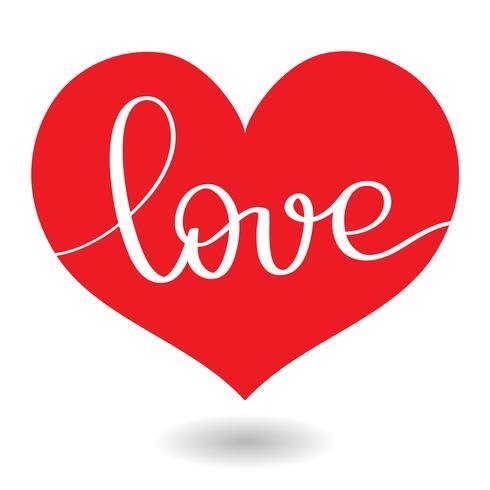 Liebeswort im roten Herzen. Vektorkalligraphie und Beschriftung EPS10