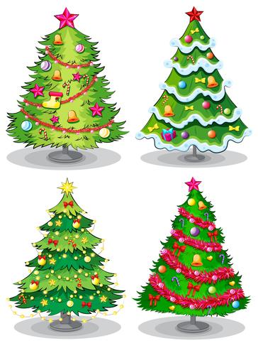 Quatre arbres de Noël décorés vecteur