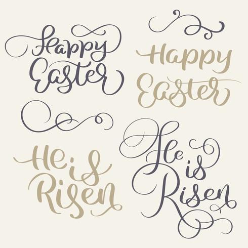Feliz Pascua y ha resucitado las palabras. Ilustración de vector de caligrafía Vintage letras EPS10
