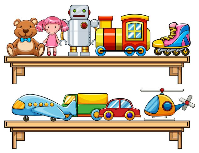 Muchos juguetes en los estantes vector