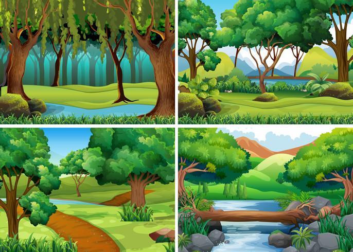 Cuatro escenas de bosque y rio.