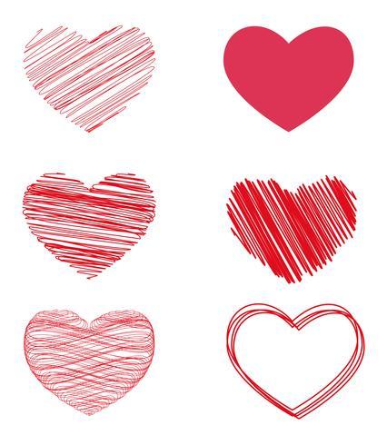 Variantes vectoriales de corazones para el día de san valentín.