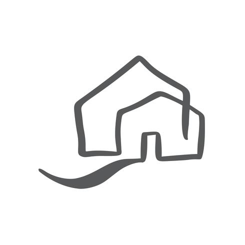 Simple Calligraphy House Real Vector Icon. Estate Architecture Construction for design. Art home vintage hand drawn Logo element