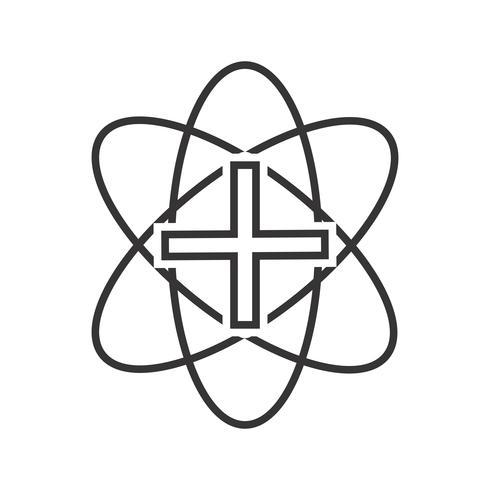 Icona del segno medico linea nera vettore