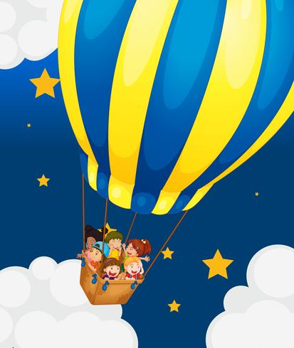 Six kids riding in the air balloon