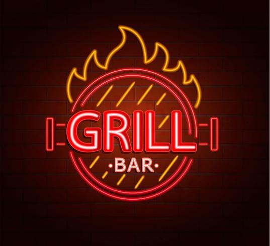 Letrero de neón de grill bar.