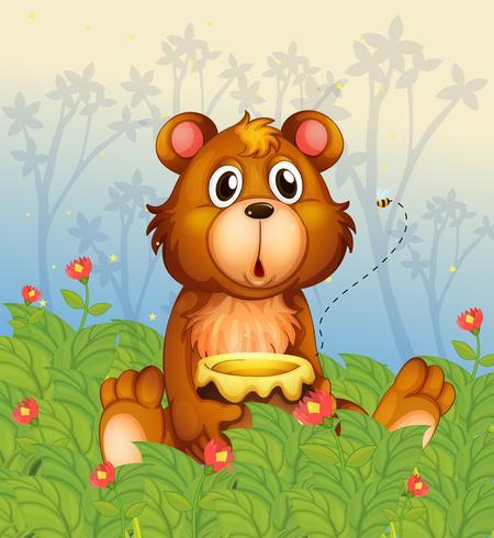 Ein schockierendes Gesicht eines Bären im Wald