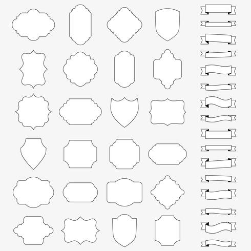 Vector set of blank banners and ribbons
