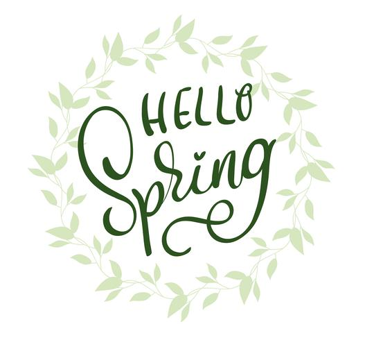 Ciao parole di primavera sulla cornice di sfondo bianco. Illustrazione EPS10 di vettore dell'iscrizione di calligrafia
