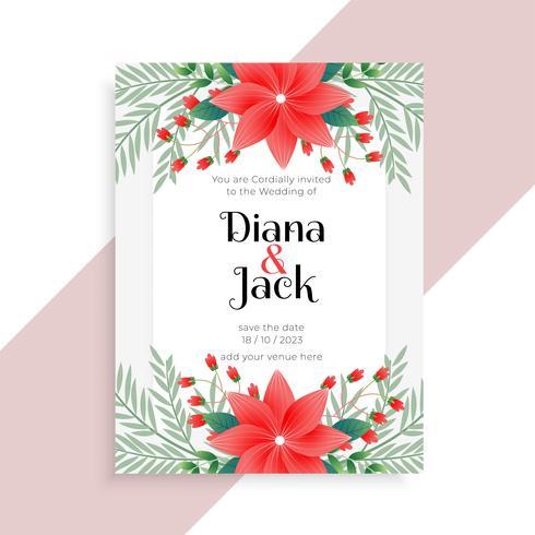 Hochzeit Blumenkartenvorlagendesign