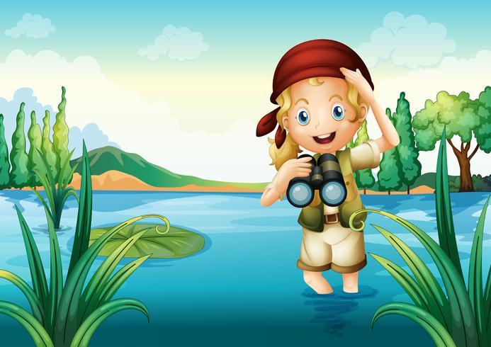 Een padvinder op het meer