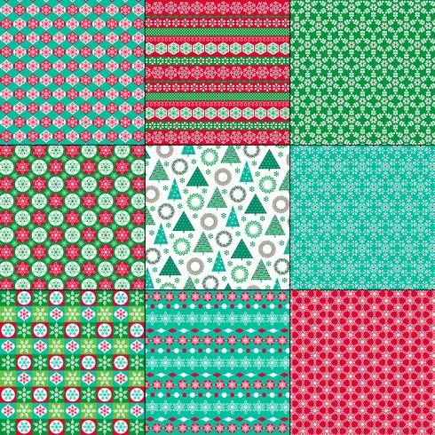 retro bright Christmas and winter patterns vector
