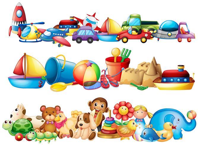 Conjunto de diferentes tipos de juguetes.