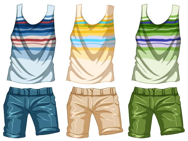Fashion design for tanktop and shorts vector