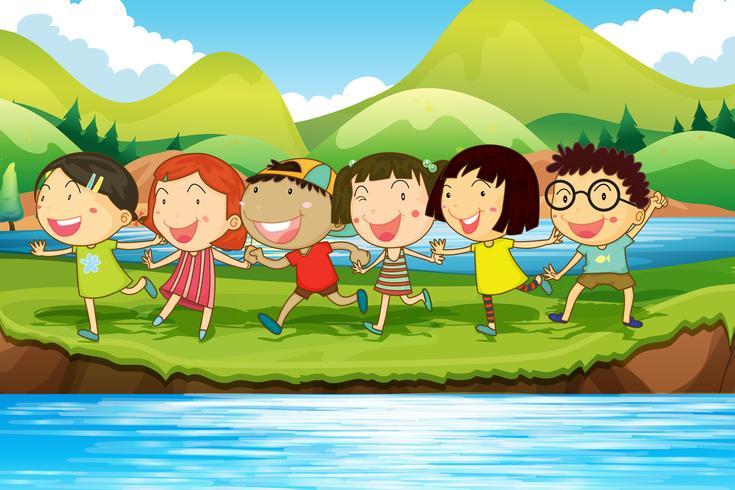Crianças, tendo divertimento, em, a, lagoa